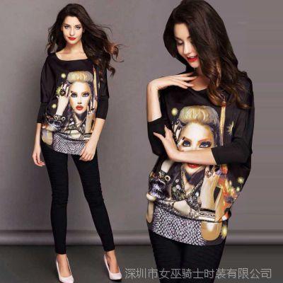 早春新品欧洲站美女头像手工订钻蝙蝠袖圆领真丝缎中长款T恤女潮
