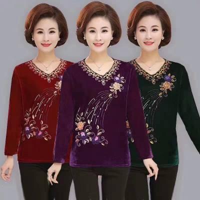 厂家直销秋季新款女装休闲大码t恤妈妈装中老年长袖冰丝棉t恤批发