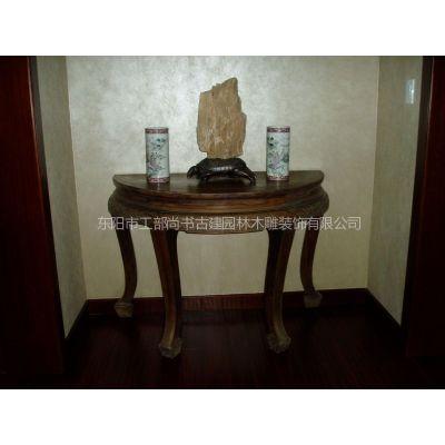 实木桌 中式别墅客厅配置家具 置物桌 镂空雕刻工艺