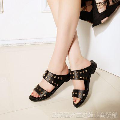 2015夏季新头层牛皮铆钉韩版风厚底一字式女式凉拖女鞋拖鞋