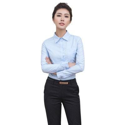 青岛女式工作服|崂山区衬衣定做|韩版职业装商务条纹短袖女衬衫