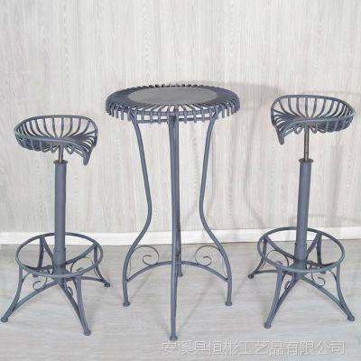 时尚简约欧式吧台桌椅子铁艺酒吧高脚旋转升降家庭用圆桌厂家直销