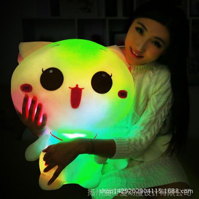 七彩音乐夜光抱枕 会发光的猫咪荧光公仔 圣诞情人节礼品