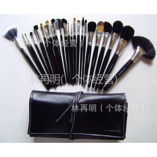供应批发新款24支化妆刷 24件化妆套刷+绑带刷包 银头白线