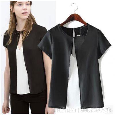 2015春夏新款欧美风双层薄纱短袖性感露胸雪纺衫 女式上衣 C0022