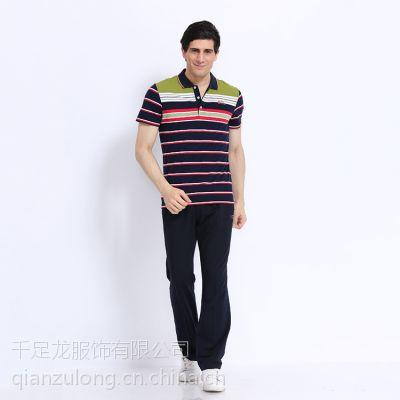2016千足龙夏季男士运动休闲上衣翻领条纹商务短袖上衣