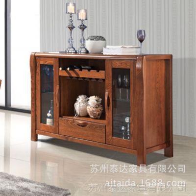 小额混批 全实木 餐边柜 餐厅家具 榆木 柜子 储物柜 玻璃门新款