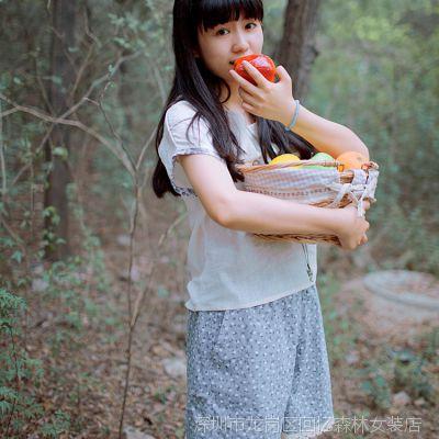 2014夏季新款女裤子女士宽松碎花短裤 镂空花边装饰森女休闲短裤