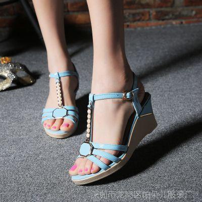 百丽高特女坡跟防水台女鞋夏季新款鱼嘴鞋高跟鞋真皮大码正品凉鞋