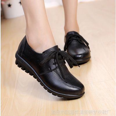 温州厂家直销新品真皮女单鞋软牛皮妈妈鞋休闲舒适孕妇工鞋602