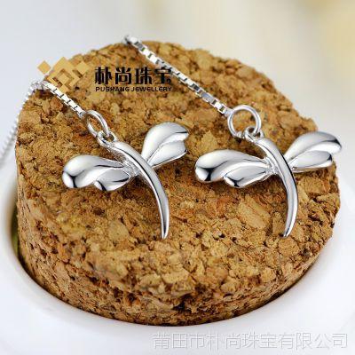 E002#S925银蜻蜓耳线 纯银饰品 首饰 时尚韩版耳环 银饰批发