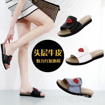 2015夏季新款女凉鞋 休闲厚底坡跟水钻红唇真皮女拖鞋 女式凉拖