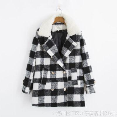 $ZT1  欧美风  2014新品羊羔毛格子尼翻领加厚大衣外套批发 7002