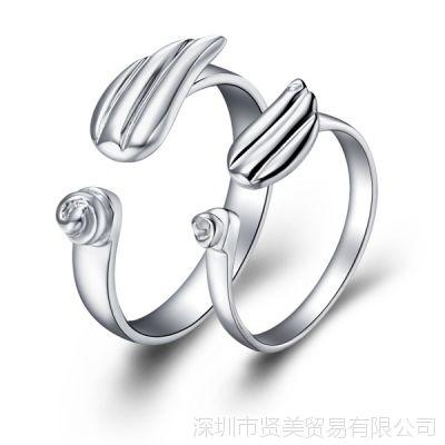 天使之翼 情侣对戒 镀白金 925银戒指 淘宝热款 女 镶石 尾戒