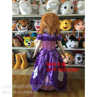 绿和卡通索菲亚吉祥物服装 苏菲亚卡通人偶服装 苏菲亚公主扮演服装