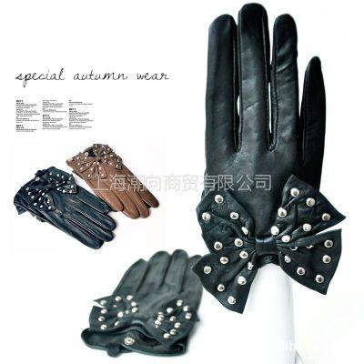 供应2012欧美风大蝴蝶结铆钉手套 绵羊皮手套冬季保暖真皮女士手套