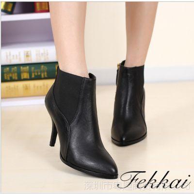 Fekkai新款短靴 品牌女靴 尖头真皮外贸短靴 细跟短靴 一件代发