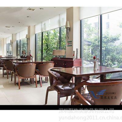 供应定做茶餐厅实木餐桌椅 金属椅子 大堂宴会椅子 酒楼椅子