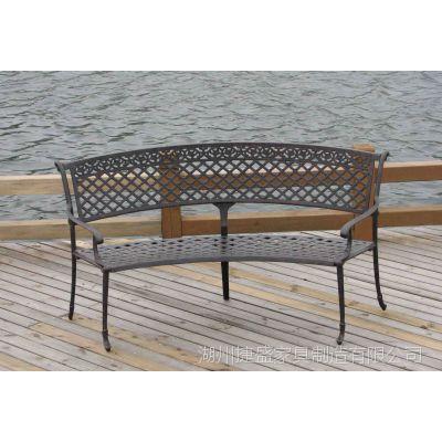 威别墅铸铝花园桌椅  户外   休闲家具 欧式铸铝尼斯扇形双椅