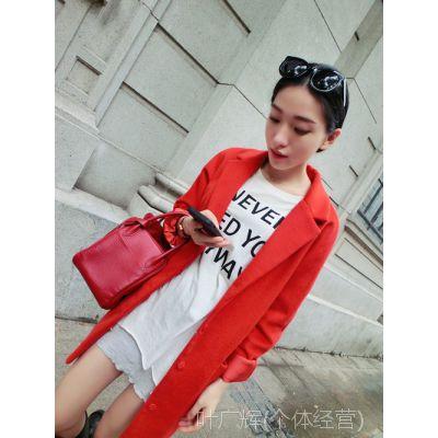 【YESWOMNE】小宜定制 2014秋冬新款女装 红色夹棉大衣厚外套