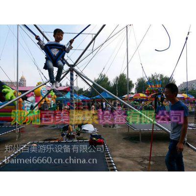 天津广场大型四人组合钢架蹦极弹跳床没想到成人也可以玩