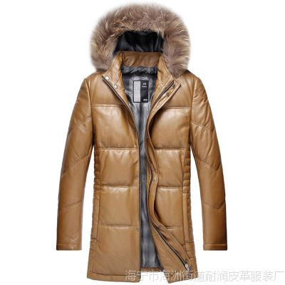 厂家直销冬季新款真皮皮衣男 真皮绵羊皮羽绒服带帽长款貉子毛