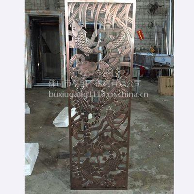 厂家直销铝屏风加工 350*1800加厚铝合金制品雕刻加工 利创古典铝折屏屏风定制
