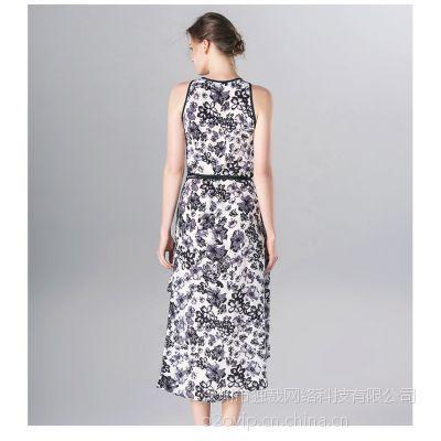 欧美夏装新品白色青花图案不规则桑蚕丝中长连衣裙
