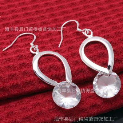 E175纯银首饰925银饰 经典热销系列产品韩版时尚精品水滴吊石耳环