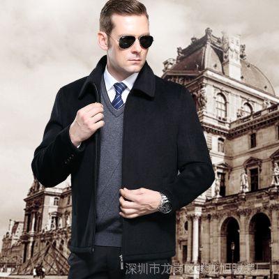 2015新款冬装梦特娇男士休闲宽松羊绒毛呢大衣男羊毛加厚夹克外套