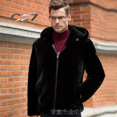 男式绵羊皮真皮皮衣皮毛一体皮衣男 冬季男士皮夹克皮草男装外套