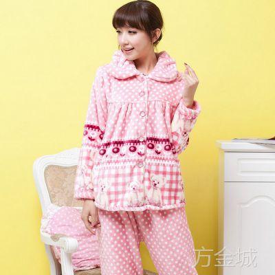 秋冬季加厚珊瑚绒睡衣女休闲女士套装女式法兰绒睡衣 清仓 特价
