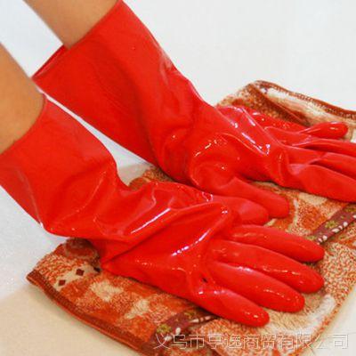 家务手套批发 乳胶防水洗碗洗衣必备手套 红色短款加绒
