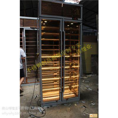 欧式葡萄庄园定做不锈钢酒柜 伟煌业玫瑰金镜面平放式酒柜 焊接金属制品