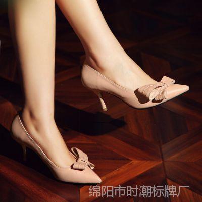 外贸春夏新款甜美女人真皮女鞋蝴蝶结细跟高跟鞋足尖诱惑单鞋