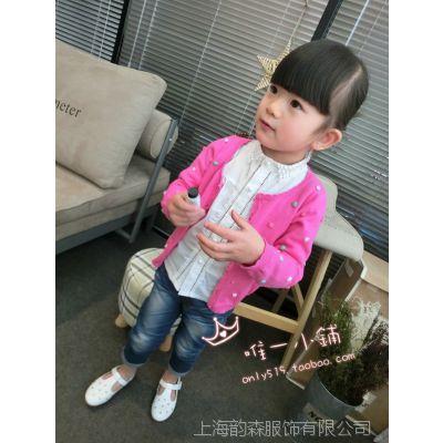 2015春款童装批发 韩版儿童刺绣上衣中小女童针织开衫全棉线衣