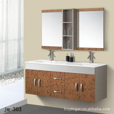 供应厂家批发高档不锈钢浴室柜(金色)1.5米双盆浴室柜 jm-303图