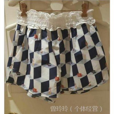 现货夏季新款甜美时尚印花荷叶边高腰阔腿裤短裤女裤