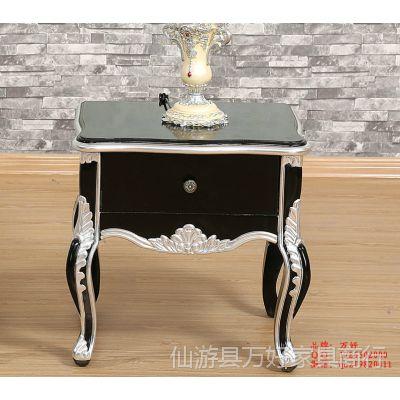 欧式床头柜 新古典实木双层床头柜 现代简约储物柜 现货
