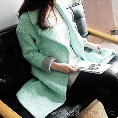 2015冬装新款韩国代购薄荷绿加厚宽松中长款羊毛呢大衣毛呢外套女