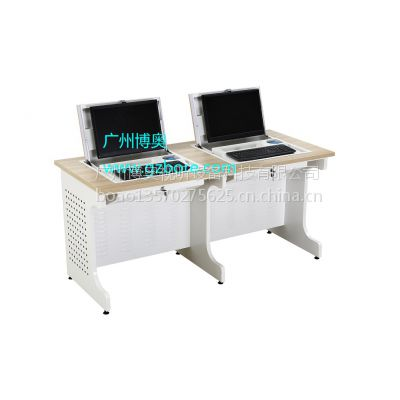 供应上海钢木双位翻转电脑桌 电教室显示器翻转桌