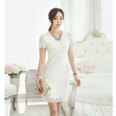 2015夏季新款 韩国原产进口直发 韩版纯色超高档蕾丝连衣裙批发