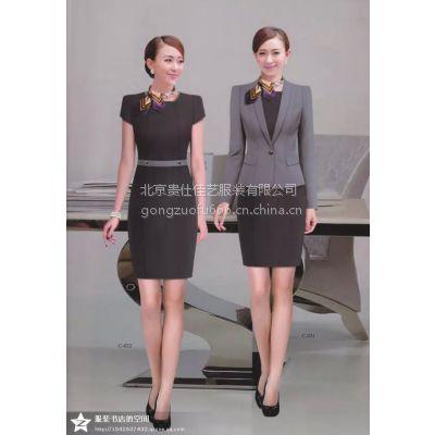 贵仕佳艺新款女士黑色欧美纯棉商务西装工作服套装 半身裙定制