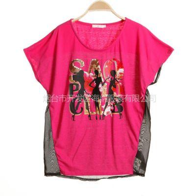 供应2013温州夏季新品韩版女装 全棉短袖T恤 雪纺拼接T恤