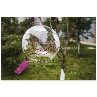 专业定制日式风铃 白樱花玻璃风铃 创意礼品挂件 家居饰品 玻璃工艺品