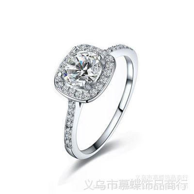 戒指 高档仿真首饰 女 结婚水晶手饰 925纯银镀白金微镶锆石戒指