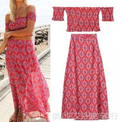 2015夏新款欧美几何印花短款上衣+半身长裙两件套套装 H25114