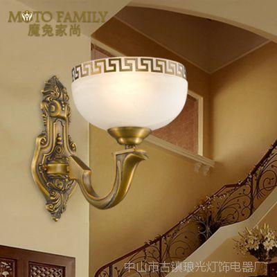 【定制】现代新中式古典led壁灯全铜床头灯酒店过道走廊灯饰