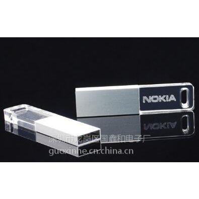 展会水晶U盘 8GB 足量 超薄亚克力LED灯发光U盘