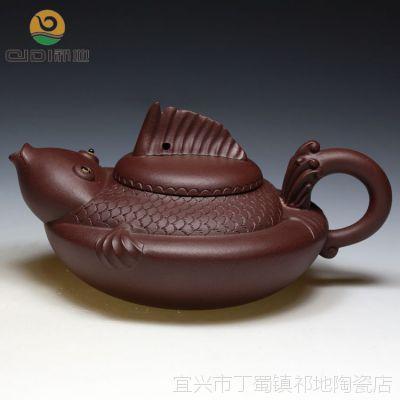 宜兴名家精品紫砂壶 陈彩敏全手工原矿紫泥年年有余收藏送礼佳品